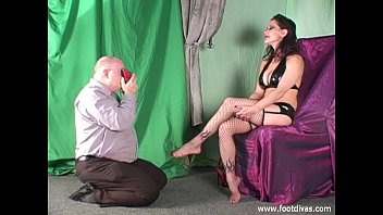 cleans cums into and them shoes sissy German femdom luciana
