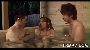 bath onsen japanese Three sexy porn stars are on the attack to two big cocks